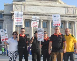 Lideres de la Asociacion de Gerenciales y la Union de Empleados de la CFSE